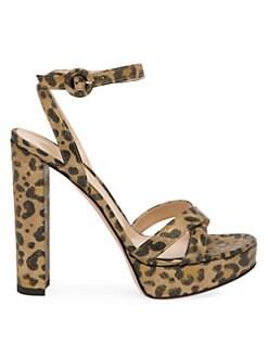 2e726cc397 Gianvito Rossi. Metallic Leopard Print Suede Platform Ankle Strap Sandals