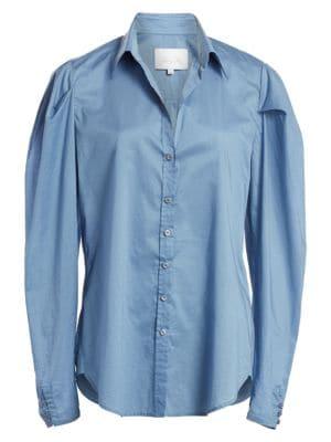 Johanna Ortiz T-shirts Debajo Del Mar Puff Sleeve Button-Down Shirt