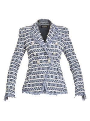 BALMAIN Double Breasted Tweed Button Jacket
