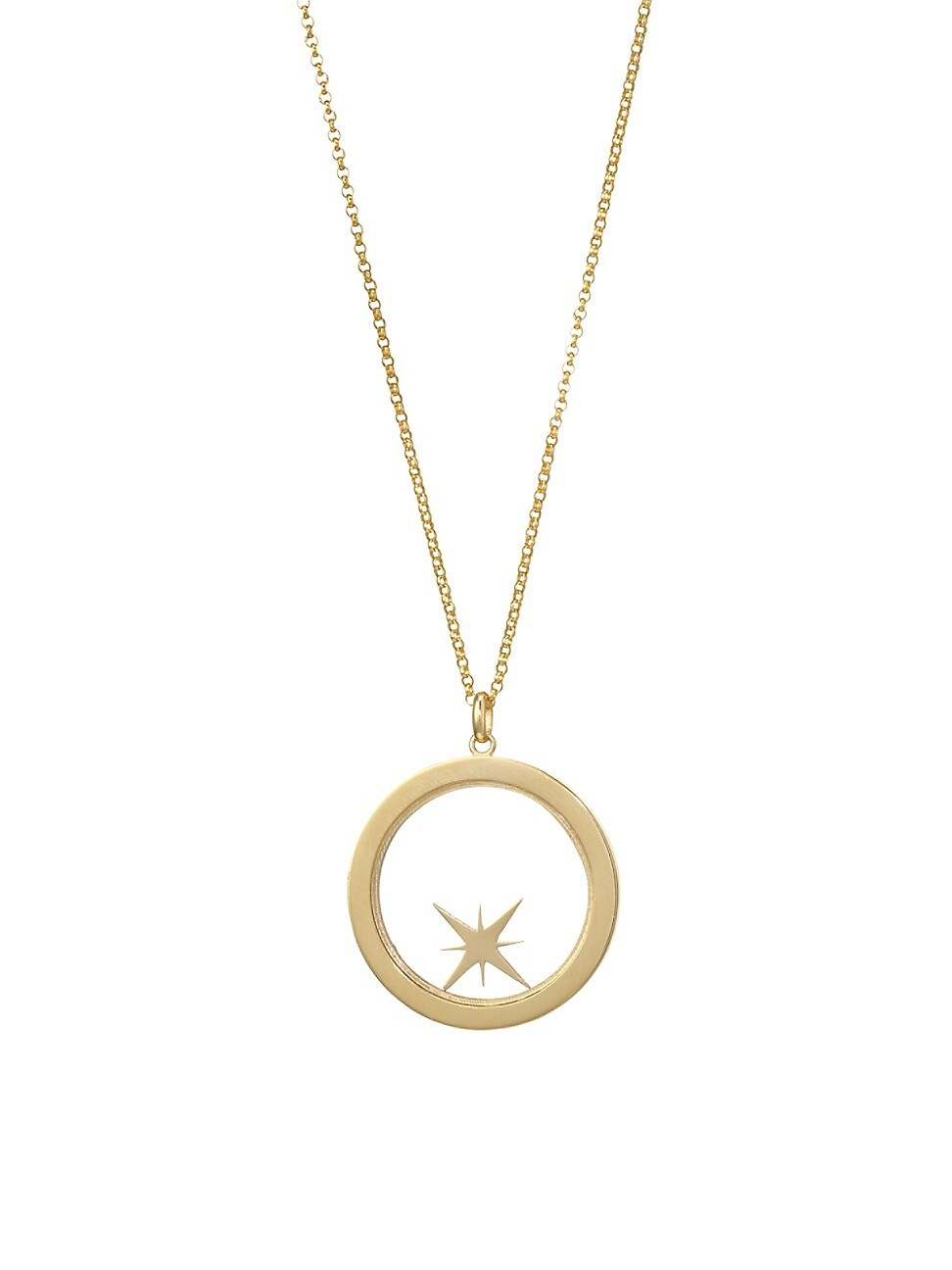 Bare WOMEN'S CHAMPLEVÉ 14K YELLOW GOLD COMPASS SHAKER PENDANT NECKLACE