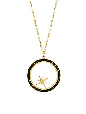Image of From the Constellation Collection. Brilliant, Authentic, Refined, Enigmatic. Bare collection jewelry is for those who inspire. Crafted from 14-karat gold and champlevé enamel, the compass shaker lets you set your direction and intention. The imperfections