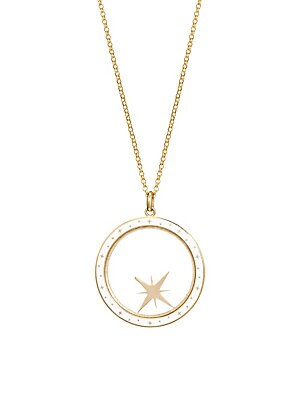 Image of From the Constellation Collection. Brilliant, Authentic, Refined, Enigmatic. Bare collection jewelry is for those who inspire. Crafted from 14-karat gold and champlevé enamel, our compass shaker let's you set your direction and intention. All of the piece