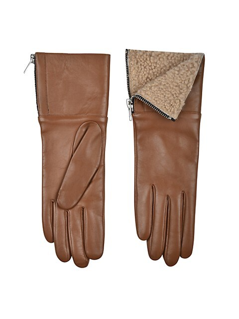 Touch Tech Leather & Shearling Gloves