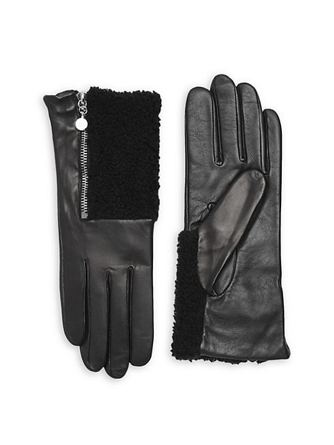 Touch Tech Metallic Leather & Shearling Gloves