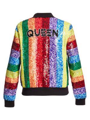 d5dadf072 Queen Sequin Rainbow Bomber Jacket
