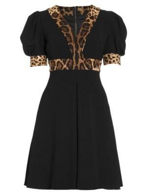 Dolce Amp Gabbana Puff Sleeve Leopard Trim Dress