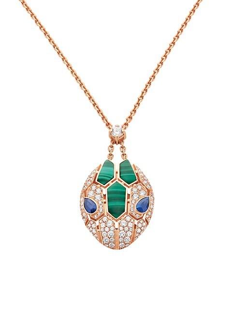 Serpenti Seduttori 18K Rose Gold, Diamond, Malachite & Sapphire Pendant Necklace