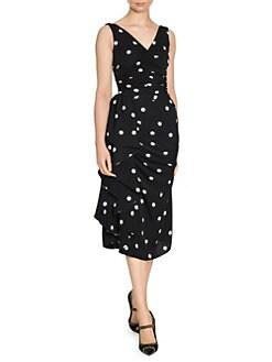 86fe247c Sleeveless Polka Dot Ruffle Dress BLACK WHITE · Product image · Dolce &  Gabbana