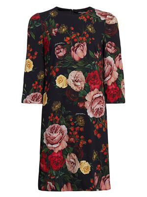 Dolce & Gabbana 3/4-sleeve Baroque Roses Shift Dress In Rose Print