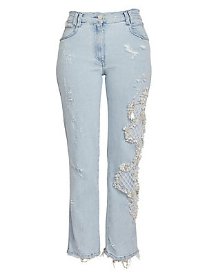 21cec4b5 Balmain - Faux Pearl Embroidered Washed Straight-Leg Jeans