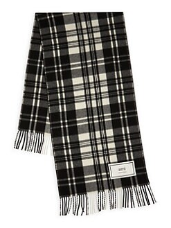 d38de516eaa09 AMI Paris. Plaid Wool Scarf