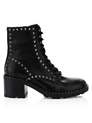 3eb013f97e770 Alexander McQueen - Spiked Leather Combat Boots - saks.com