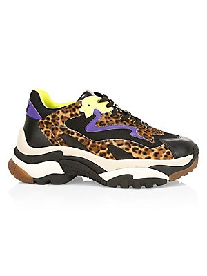 Image of A mixed-media construction featuring leather and leopard-print calf hair, these chunky sneakers make a bold statment. Leather/calf hair/fabric upper Almond toe Lace-up vamp Fabric lining Rubber sole Fur type: Dyed calf hair Fur origin: China Imported SIZE
