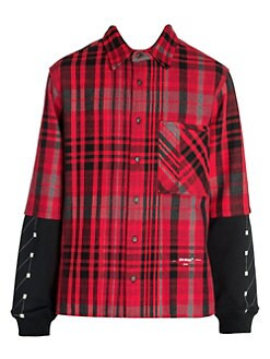 5a7787c0 Off-White. Jersey Sleeve Plaid Shirt
