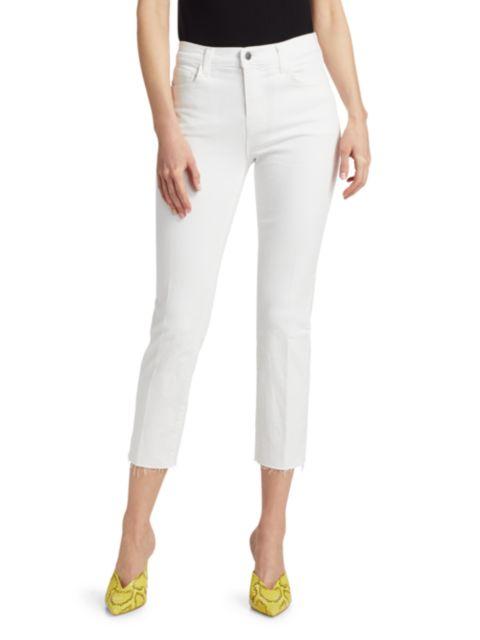 L'Agence Sada High-Rise Crop Slim Straight Jeans   SaksFifthAvenue