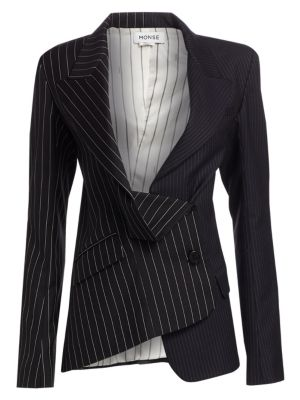 Monse Two Tone Pinstripe Asymmetric Blazer