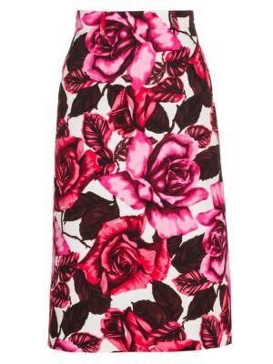 Prada Skirts Rose Print Cotton Poplin A-Line Skirt