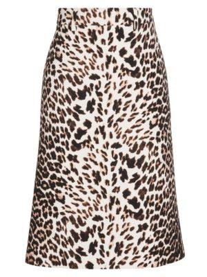 Prada Skirts Leopard Wool Gabardine A-Line Skirt
