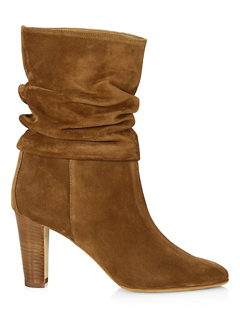 Ruched Mid-Calf Suede Boots