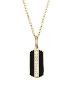 ae947fb7d Sydney Evan. Diamond, Black Enamel & 14K Yellow Dog Tag Pendant Necklace