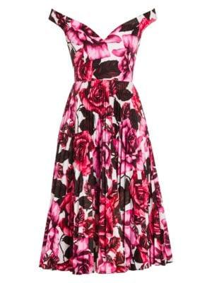 Prada Off The Shoulder Rose Print Dress