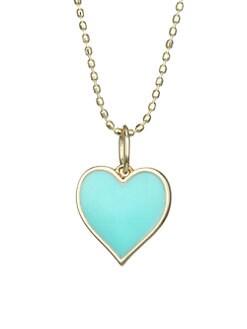 56e04f8cf Sydney Evan. 14K Gold Beaded Heart Pendant Necklace
