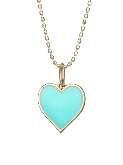 14K Gold Beaded Heart Pendant Necklace