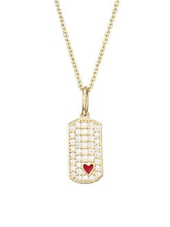 203645c39 Sydney Evan. Diamond, 14K Yellow Gold & Red Enamel Heart Dog Tag Pendant  Necklace