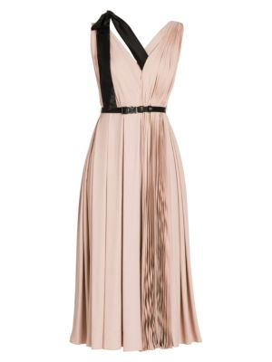Prada Dresses Ribbon Detail Pleated V-Neck Midi Dress