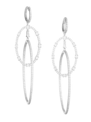 Adriana Orsini Gia Rhodium Plated Crystal Orbit Oval Hoop Huggie Drop Earrings