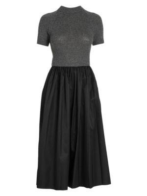 Prada Women's Cashmere & Nylon Short-sleeve Fit-&-flare Dress In Neutral