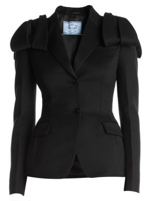Prada Jackets Bow-Shoulder Wool & Satin Two-Button Jacket