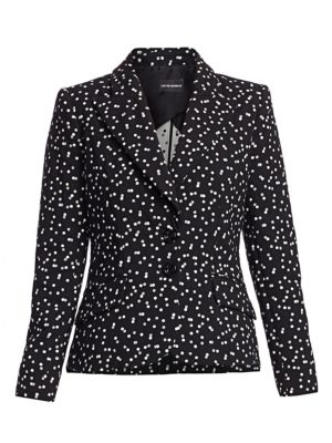 Emporio Armani Polka Dot Stretch Cotton Blazer