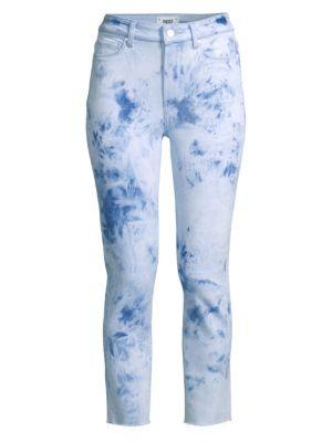 Paige Jeans Hoxton Tie Dye Slim Crop Jeans