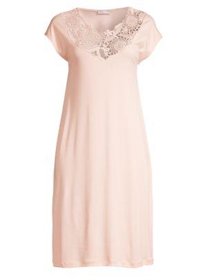 Hanro Flora Lace Trim Cap Sleeve Night Gown