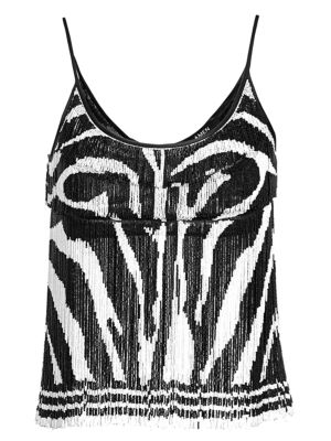 Amen Beaded Fringe Zebra Print Crop Top