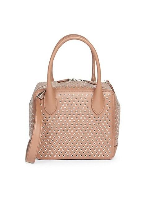 Small Elba Grommet Leather Box Bag