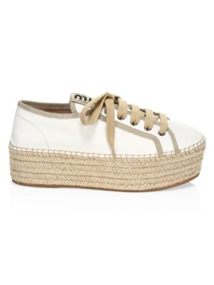 Miu Miu Leather Espadrille Flatform Sneakers