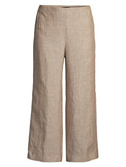 fd52d75256f QUICK VIEW. Theory. Striped Linen Cropped Pants