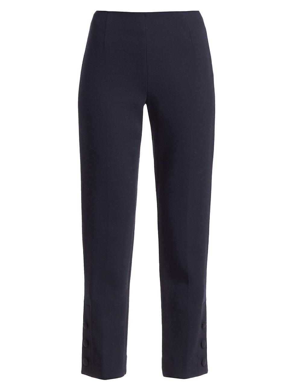 Lela Rose Women's Button Detail Wool Crepe Pants In Navy