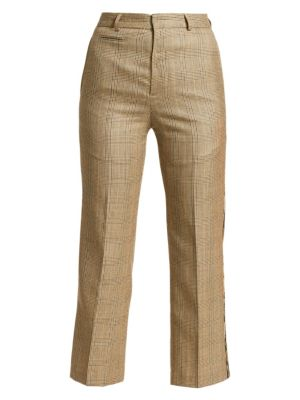 R13 Plaid Wool Blend Tuxedo Trousers