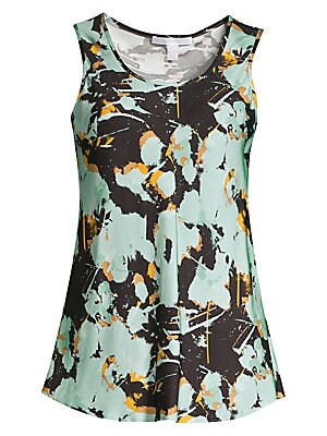 """Image of An abstract floral print patterns this tank top, crafted in a stretch-satin for elegance and comfort. Scoopneck Sleeveless Pullover style Curved hem Viscose Dry clean Imported of German fabric SIZE & FIT A-line silhouette About 24.5"""" from shoulder to hem"""