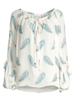 Ramy Brook Paulette Feather Print Peasant Top