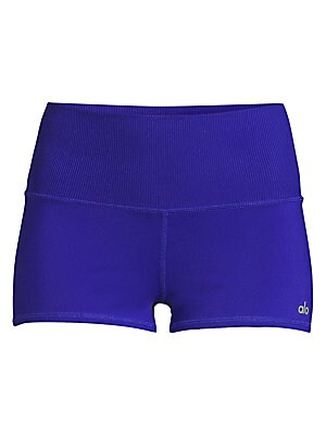 """Image of Comfortable wide waistband shorts with a reflective logo at the hem. Wide elasticized waistband Slip-on styling Polyester/spandex Machine wash Imported SIZE & FIT Rise, about 10"""" Leg-opening, about 18"""" Inseam, about 2"""" Model shown is 5'10"""" (177cm) wearing"""