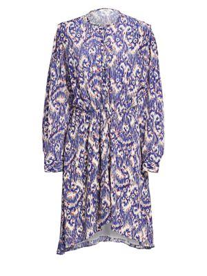 Yandra Ikat Printed Silk Shift Dress