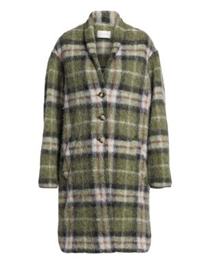 Isabel Marant Etoile Gabriel Wool Blend Plaid Blanket Coat