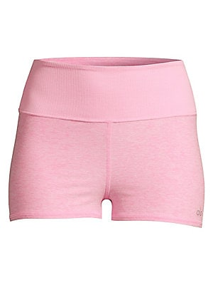 """Image of Comfortable wide waistband shorts with soft heathered texture. Wide elasticized waistband Slip-on styling Polyester/spandex Machine wash Imported SIZE & FIT Rise, about 10"""" Leg-opening, about 18"""" Inseam, about 2"""" Model shown is 5'10"""" (177cm) wearing US si"""