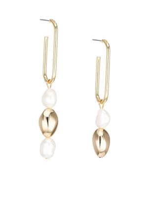 Jules Smith 14k Yellow Goldplated 8mm Freshwater Pearl Drop Earrings