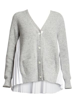 Sacai Knits Plissé Wool Knit Cardigan