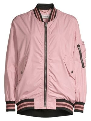 Coach Oversized Metallic Stripe Detail Bomber Jacket